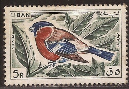 Lebanon - 1965 Bullfinch Bird Stamp - F/VF MH - Scott #434