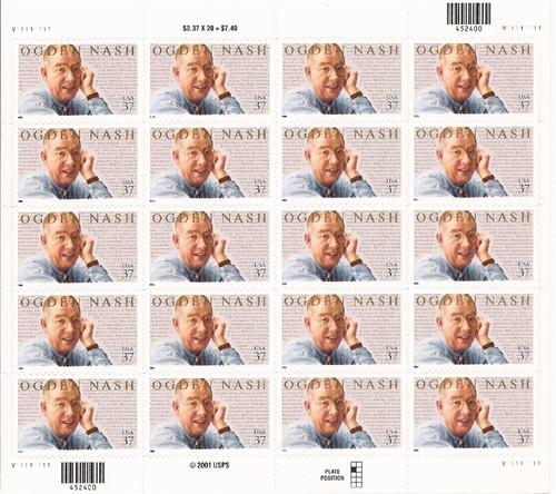 US Stamp - 2002 Ogden Nash - 20 Stamp Sheet - Scott #3659