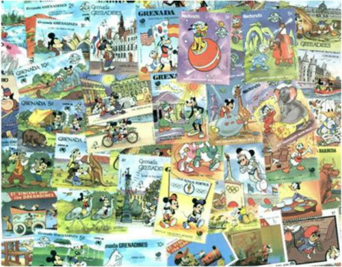 Disney Mint Stamp Collection - 500 Different Stamps
