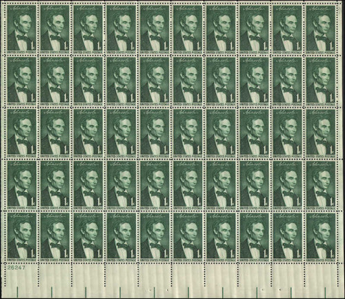 US Stamp - 1959 1c Lincoln Sesquicentennial - 50 Stamp Sheet #1113