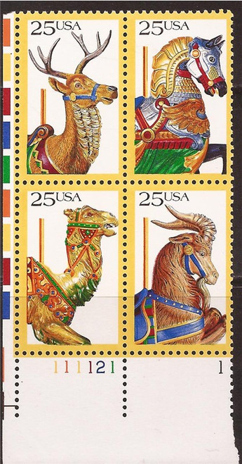 US Stamps - 1988 Carousel Animals - Plate Block of 4 Stamps #2390-3