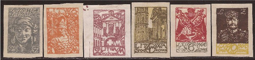 Central Lithuania - 1920 Issues-6 Stamp Imperforate Set-F/VF MH #17-23