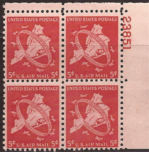 US Stamp - 1948 New York City Airmail - Plate Block of 4 Stamps #C38