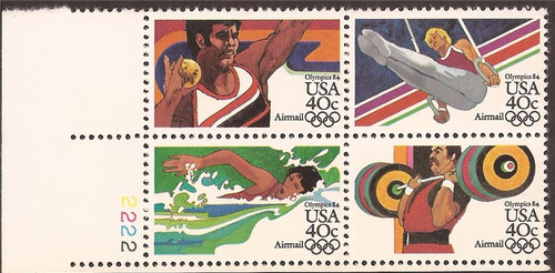 US Stamp - 1983 40c Airmail Summer Olympics - PB of 4 Stamps #C105-8