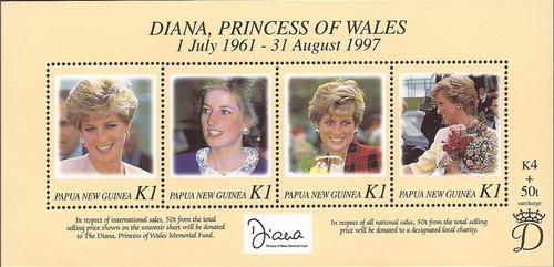 Papua New Guinea - 1998 Pr. Diana Memorial - 4 Stamp Sheet - 16E-003