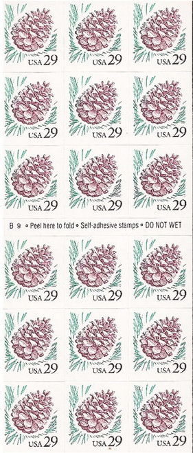 US Stamp - 1993 Pine Cone - Booklet of 18 Stamps - Scott #2491a