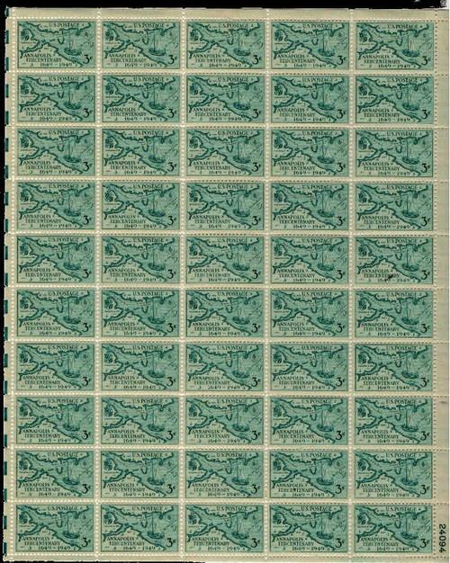 US Stamp - 1949 Annapolis Tercentenary - 50 Stamp Sheet - Scott #984