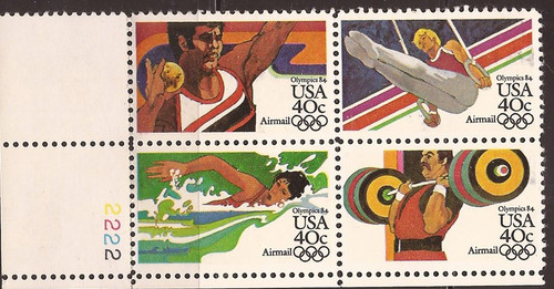 US Stamp - 1983 Summer Olympics - Plate Block of 4 Stamps #C105a-8a