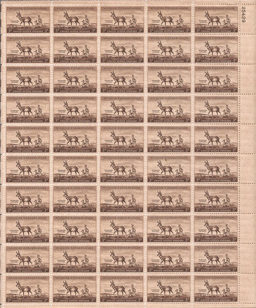 US Stamp - 1956 Wildlife Conservation Antelope - 50 Stamp Sheet #1078