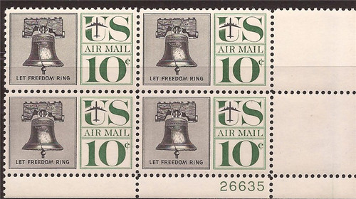 US Stamp - 1960 Liberty Bell Airmail - Plate Block of 4 Stamps #C57