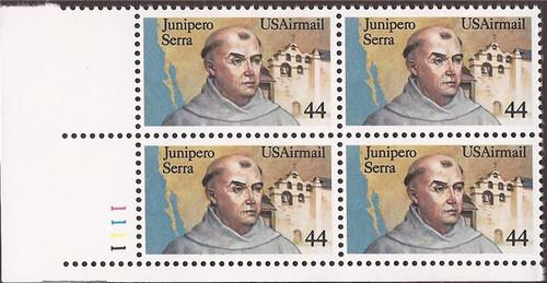 US Stamp - 1985 Friar Junipero Serra - Plate Block of 4 Stamps #C116