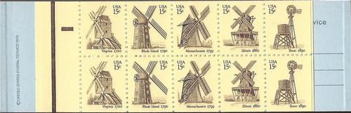 US Stamp - 1980 Windmills - Booklet of 20 Stamps - Scott #BK135
