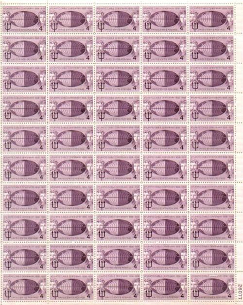 US Stamp - 1958 Atlantic Cable - 50 Stamp Sheet - Scott #1112