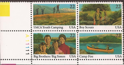 US Stamp - 1985 Int'l Youth Year - Plate Block of 4 Stamps #2160-3