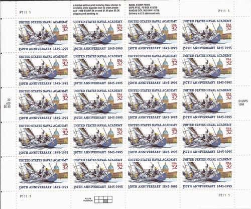 US Stamp - 1995 US Naval Academy 20 Stamp Sheet Scott #3001