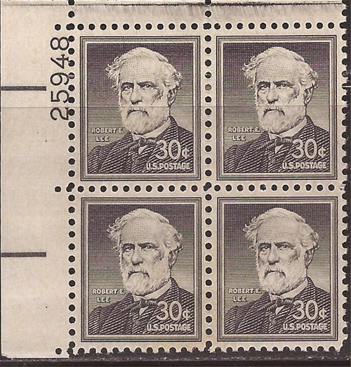 US Stamp - 1955 30c Robert E. Lee - Plate Block of 4 Stamps #1049a
