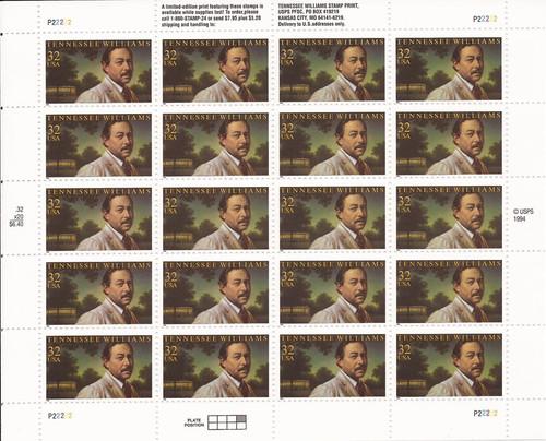 US Stamp - 1995 Tennessee Williams - 20 Stamp Sheet - Scott #3002