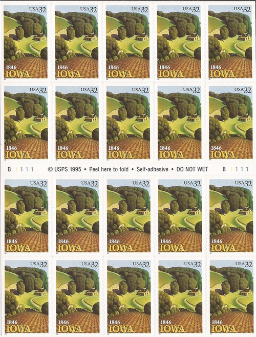 US Stamp - 1996 Iowa Statehood - Booklet Pane of 20 Stamps #3089
