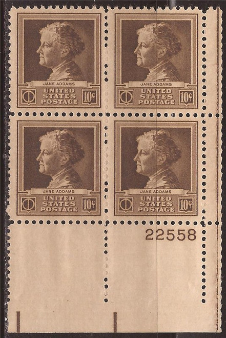 US Stamp 1940 Jane Addams Plate Block of 4 Stamps F/VF MNH #878