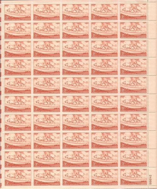 US Stamp - 1954 Kansas Territory - 50 Stamp Sheet - Scott #1061