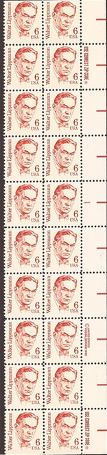 US Stamp - 1985 Walter Lippmann - Plate Block of 20 Stamps #1849