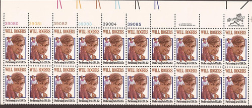 US Stamp - 1979 Will Rogers - Plate Block of 20 Stamps - Scott #1801