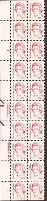 US Stamp - 1985 Abraham Baldwin - Plate of 20 Stamps - Scott #1850