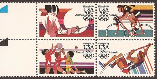 US Stamp - 1983 Olympics Airmails - Block of 4 Stamps #C109-12