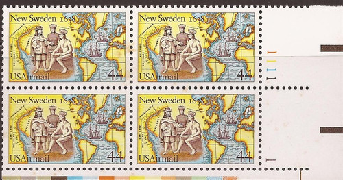 US Stamp - 1988 Settling of New Sweden - Plate Block of 4 Stamps #C117