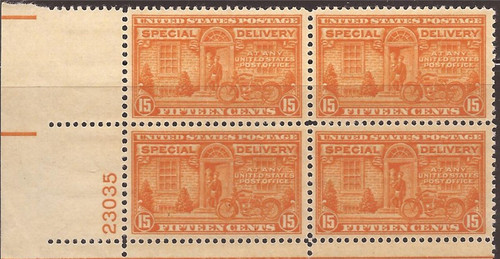 US Stamp - 1931 15c Special Delivery - Plate Block of 4 Stamps NH #E16