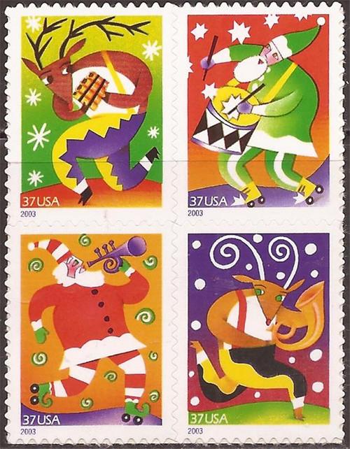 US Stamp - 2003 Christmas - Block of 4 Stamps - Scott #3821-4