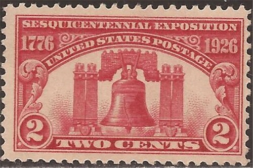 US Stamp 1925 Liberty Bell, Sesquicentennial Expo F/VF MNH Scott #627