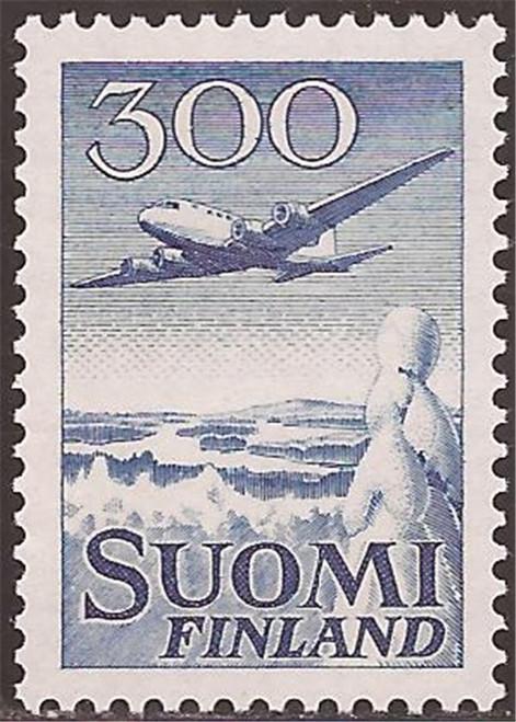 Finland - 1958 DC-6 over Winter Landscape - VF MNH - Scott #C4