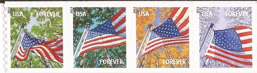US Stamp - 2013 Flags in Season - Strip of 4 Forever Stamps #4766-9