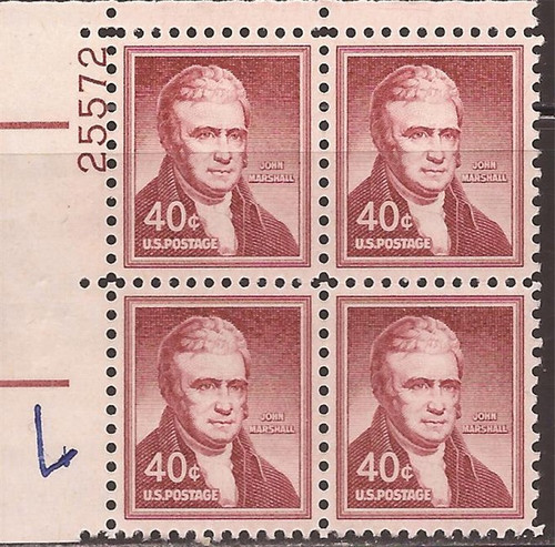 US Stamp 1958 40c John Marshall Plate Block of 4 Stamps Dry Print #1050a