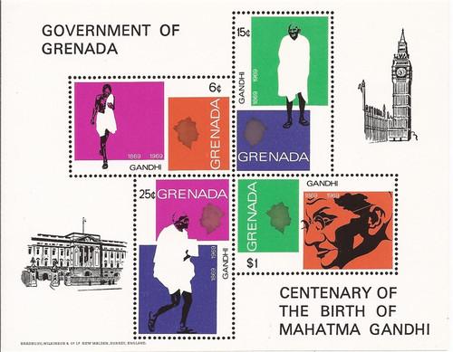 Grenada - 1969 Mahatma Gandhi - 4 Stamp Sheet - MNH - Scott #340a