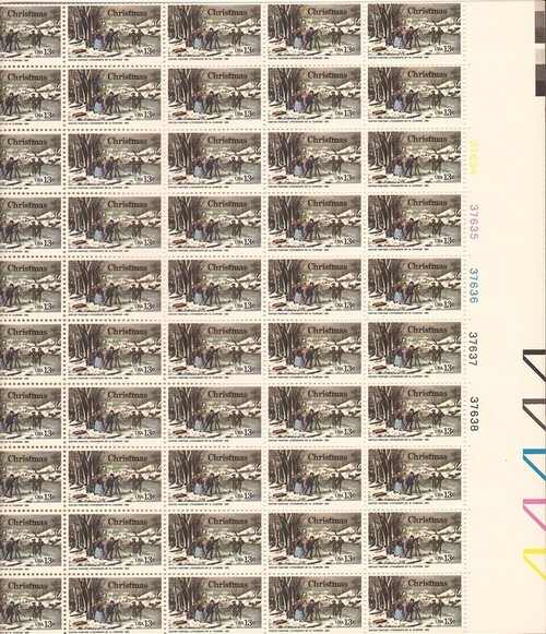 US Stamp - 1976 Christmas Winter Pastime - 50 Stamp Sheet #1703
