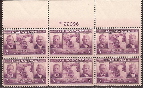 US Stamp - 1939 Panama Canal - Plate Block of 6 Stamps F/VF MNH #856