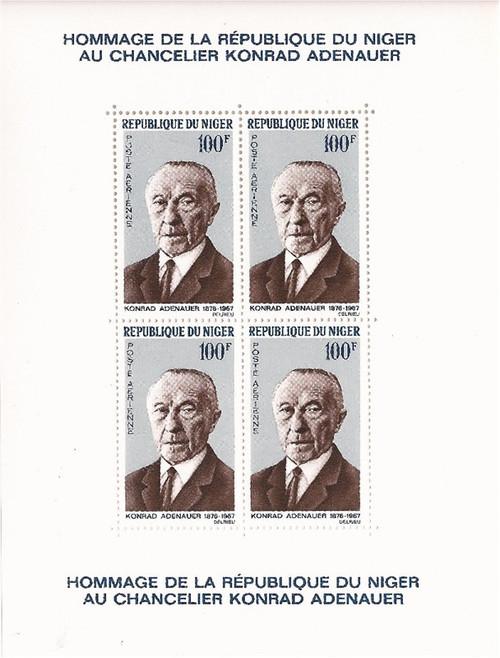 Niger - 1967 Konrad Adenauer - 4 Stamp Souvenir Sheet - Scott #C48a