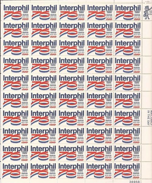 US Stamp - 1976 INTERPHIL - 50 Stamp Sheet MNH - Scott #1632