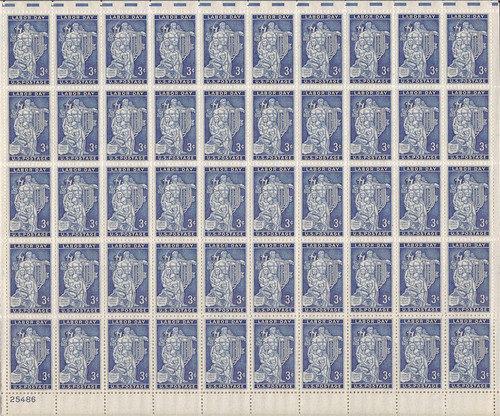 US Stamp - 1956 Labor Day - 50 Stamp Sheet - F/VF MNH - Scott #1082