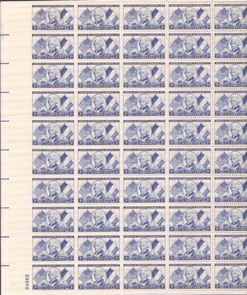 US Stamp - 1952 Lafayette - 50 Stamp Sheet - F/VF MNH - Scott #1010