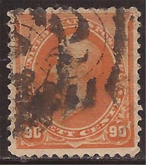 US Stamp - 1890 90c Perry - VF Used - Scott #229 - CV $150.00