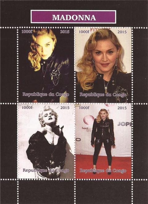 2015 Madonna - Singer, Actress, Diva - 4 Stamp Sheet MNH - 3A-465