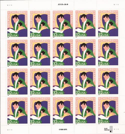 US Stamp - 1997 Helping Children Learn - 20 Stamp Sheet - Scott #3125