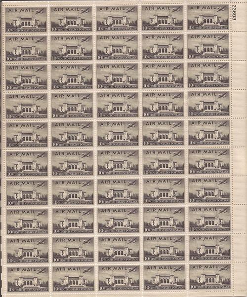 US Stamp - 1947 10c Pan Am Building Airmail - 50 Stamp Sheet #C34