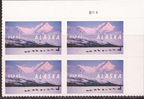 US Stamp - 2009 Alaska 50th Statehood - Plate Block of 4 Stamps #4374