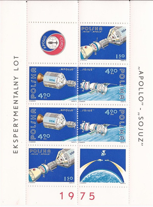 Poland - 1975 Apollo Soyuz Space Mission - 6 Stamp Sheet - MNH #2107a