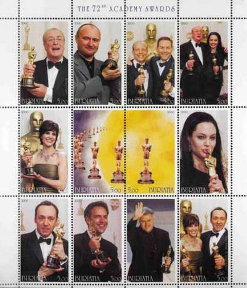 72nd Oscars on Stamps  Spacey Jolie Swank - 12 Stamp Sheet 2A-065