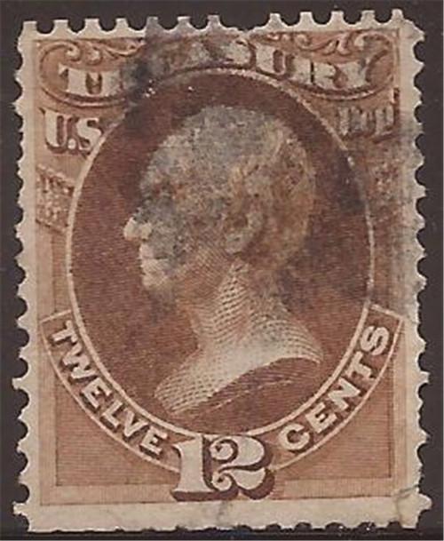 US Stamp - 1873 12c Official Stamp Treasury-F/VF Used SE - Scott #O78